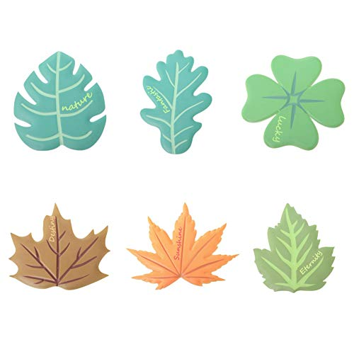 Adarl Pack 6 Silicone Coasters for Drinks, Monstera, Oak, Four-Leaf Clover, Sycamore Leaves, Maple Leaves, Mulberry Leaves, Anti-Scalding, Non-Slip, Beautiful and Practical for Home Decor ()
