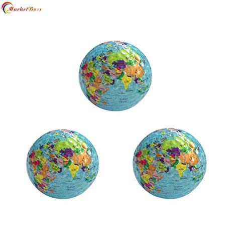 MarketBoss 3pcs World Earth Globe Golf Balls Double-Layer Construction World Map Occasion Pattern Sport Golf Balls (Construction Golf Ball)