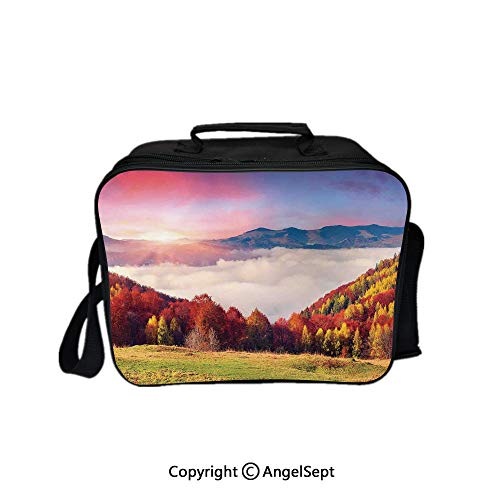 Hot Sale Lunch Container,Pastoral Colorful Autumn Morning in the Majestic Mountains European Peaks Print Deco Multi 8.3inch,Lunch Bag Large Cooler Tote Bag For Men, Women