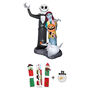 EJloveshopping Halloween Airblown Inflatable Nightmare Before Christmas Scene 6FT Tall by Gemmy Industries and Snowman Kitchen Appliance Handle Covers & Snowman Countdown Calendar