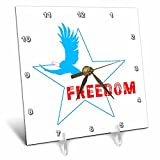 3dRose Alexis Design - America - White star, bold eagle, text Freedom, patriot, 4th of July on white - 6x6 Desk Clock (dc_285880_1)