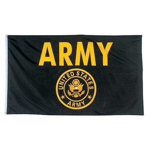 Oniche U.S. Army Seal Crest Black and Gold Flag 3x5 FT US Black Army Flag Banner Vivid Color Polyester Flags with Brass Grommets(Black Army Flag) …