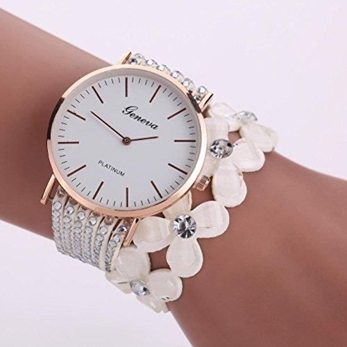 Diamond Self Winding Bracelet (Yuaboz.H Fashion Dress Decor Leisure Womens Quartz Bracelet Watch Crystal Diamond Wrist Watch (White))