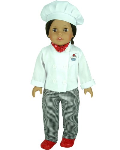 18 Inch Doll Clothes/clothing Fits American Girl Dolls – 4 Pc. Doll Chef Outfit (Doll Shoes Sold Separately) Set Includes Doll Hat, Doll Chef's Jacket, Pants and Scarf, Baby & Kids Zone