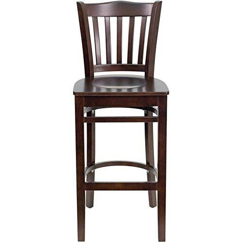 Flash Furniture HERCULES Series Vertical Slat Back Walnut Wood Restaurant Barstool
