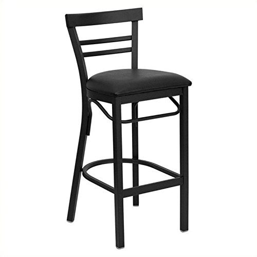 Cheap Flash Furniture HERCULES Series Black Ladder Back Metal Restaurant Barstool – Black Vinyl Seat