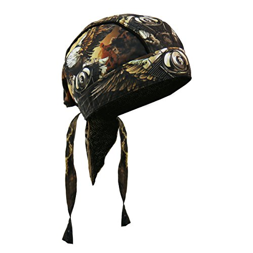 Hot Leathers Eagle Clouds Head Wrap (Brown, OSFM) (Hot Leathers Wrap)