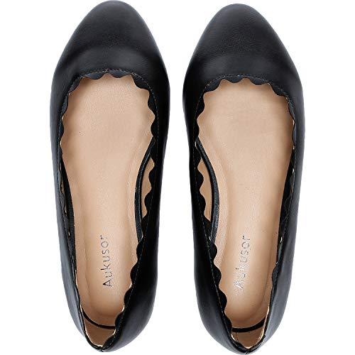 (Women's Wide Width Flat Shoes - Cozy Wavy Topline Pointy Toe Slip On Ballet Flat.(Black 181009,12W))