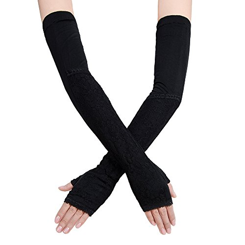 JISEN Women Long Lace Floral Half Finger Sunscreen Arm Sleeves outdoor Gloves Style 2-Black