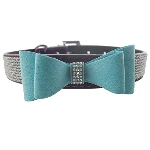 Gigamax Cute Bow Design Dog Collar Bling Crystal PU Leather