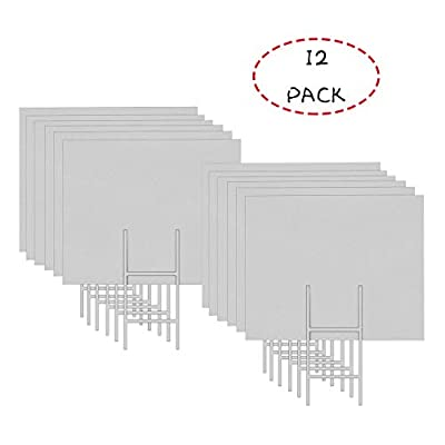 """Mejor Conocido 12 Pack 24""""x18"""" White Blank Lawn Yard Signs Corrugated Plastic Sheet with Durable H-Stakes, Opening Business, Garage Rent, House Sale"""