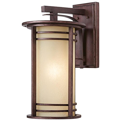 Home Decorators Collection 20 in. 1-Light Bronze Outdoor Wall Lantern with Amber Glass