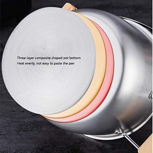 Casserole à soupe en acier inoxydable avec couvercle anti-adhésif (taille : 22 cm)