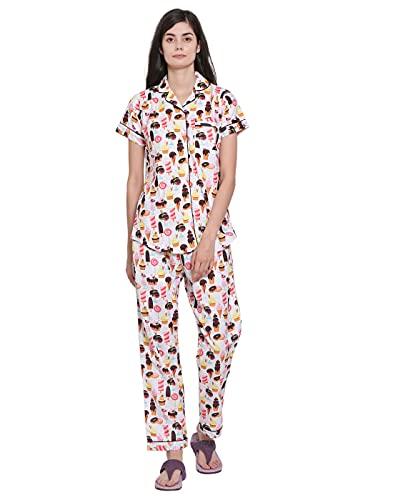 Moonlight Studio Cute Dessert Platter Women's Pajama Set, Night Suit, Lounge Wear, Shirt & Pyjama Dress