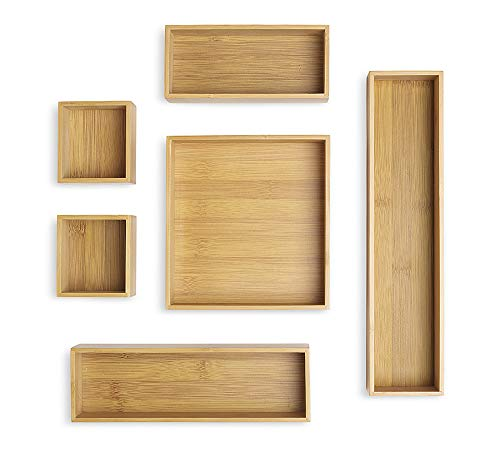 - Whitmor Bamboo Drawer Organizers Set of 6, Natural