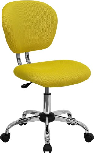 Flash Furniture Mid-Back Yellow Mesh Swivel Task Chair with Chrome Base (Chairs Desk Yellow)