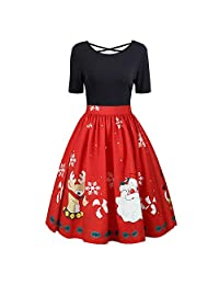 FarJing Christmas Dress, Fashion Womens Christmas Print Gown Evening Party Dress