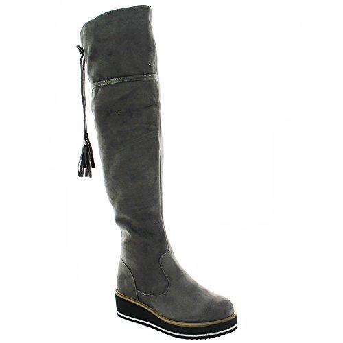 Daim avec Compens Effet Ideal Shoes Bottes Semelle qxwtxpI6