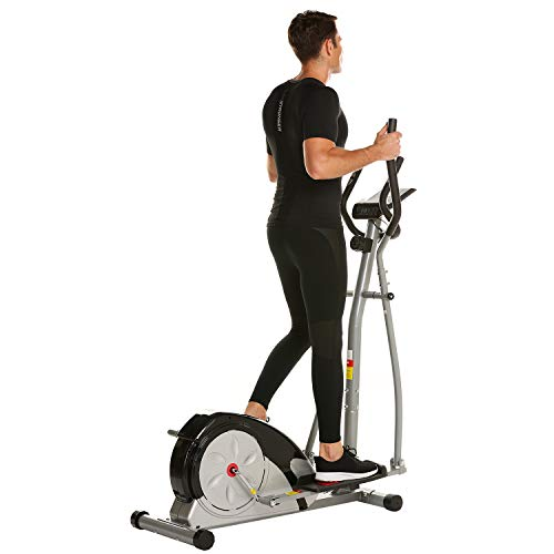 Fast 88 Portable Elliptical Machine Fitness Workout Cardio Training Machine, Magnetic Control Mute Elliptical Trainer with LCD Monitor,Top Levels Elliptical Machine Trainer (Grey) by Fast 88 (Image #1)