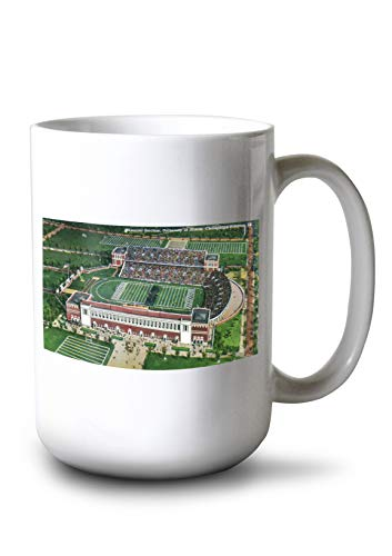 Lantern Press Champaign-Urbana, Illinois - University of Illinois; Aerial View of Memorial Stadium (15oz White Ceramic Mug)