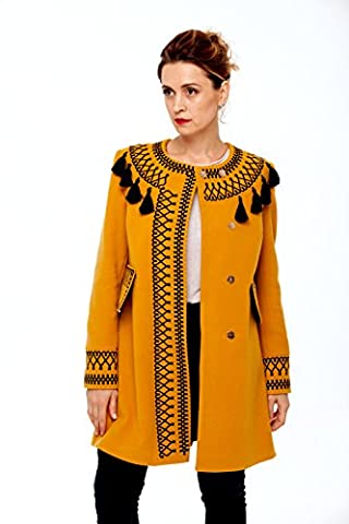 Women Designer Coats With Tassels Ocher! Embroidered Boho Style Coat! (Red Barn Ranch)