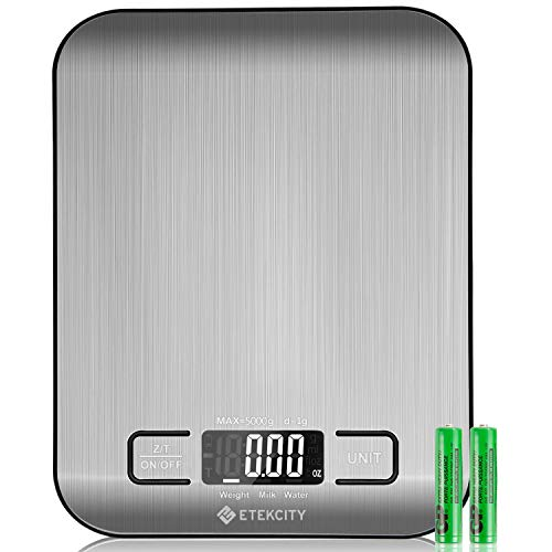 Etekcity Digital Kitchen Scale Multifunction Food Scale, 11lb 5kg, Silver, Stainless Steel (Batteries Included)