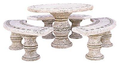 conjunto Comedor de Piedra para Jardin Circular Vene