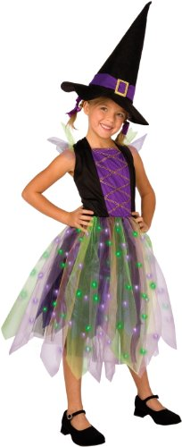[Light-Up Rainbow Witch Child Costume, Large] (Girls Light Up Witch Costume)