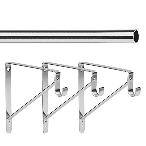 "- 8' Foot Lido Heavy Duty Closet Rod Kit - Chrome Finish - 1 5/16"" OD with 3 Support Brackets"