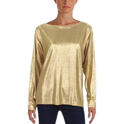 LAUREN RALPH LAUREN Womens Metallic Sparkly Sweater Gold L
