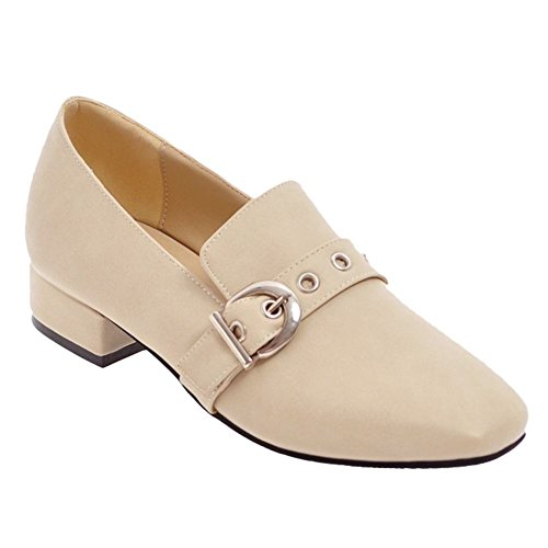 Carolbar Womens Vierkante Teen Gesp Monk Retro Mocassin Loafers Schoenen Beige