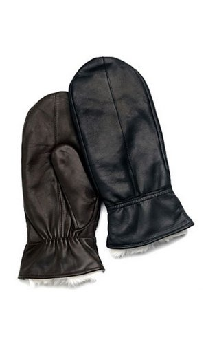 Ladies Lambskin Leather Mitten With Rabbit Fur Lining By Grandoe (6.5 (S), Brown)