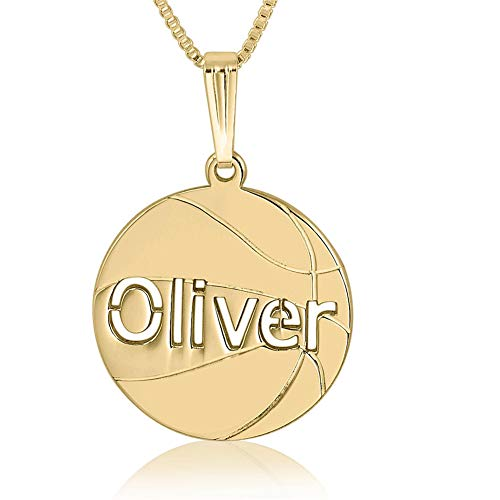 Personalized Basketball 18K Gold Plated Necklace 925 Sterling Silver Engraved Custom Made with Any Name