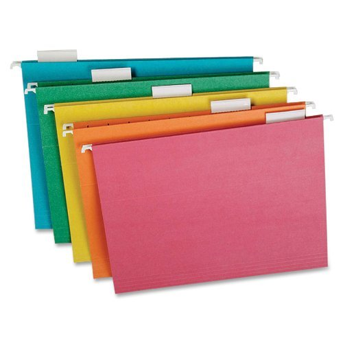 Ampad Hanging File Folders, 100% Recycled, Letter, 1/5 Cut, Assorted Colors, 20 Per Box (5211/5MIXR) by Ampad