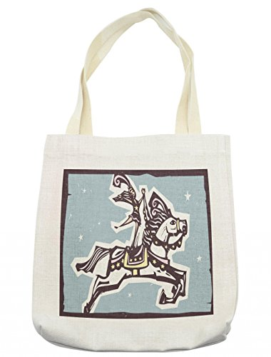 Lunarable Colorful Tote Bag, Circus Performer Riding on