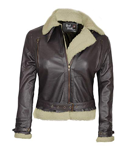 Brown Shearling Leather Jacket Women - Genuine Lambskin Chocolate Brown Leather Jackets for Women | M