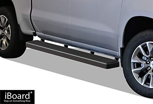 APS iBoard Running Boards (Nerf Bars   Side Steps   Step Bars) for 2019-2020 Chevy Silverado GMC Sierra 1500 Crew Cab   (Black Powder Coated 6 inches)