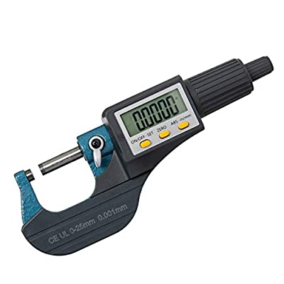 """Beslands Digital Electronic Display Micrometer 0-1"""" / 0-25mm Gauge 0.00004"""" / 0.001mm Thickness Measuring Tools Inch/Metric Caliper, Protective Case (with Extra Battery)"""