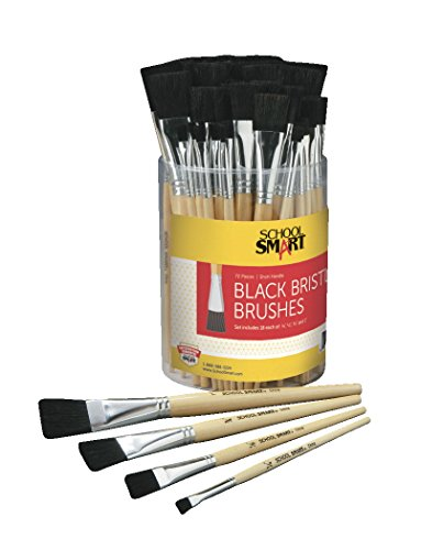 - School Smart Interlocked Black Bristle Short Handle Paint Brush Set with Bucket, Assorted Size, Clear, Set of 72
