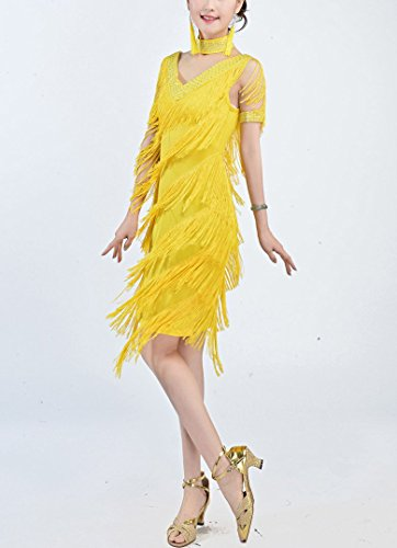 Whitewed Grand Habits De Fête Vintages De Perles De Style Gatsby 20 Robe Jaune Xl