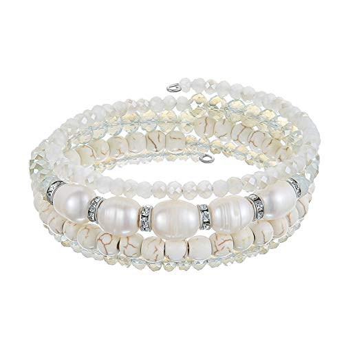 Beaded Freshwater Pearl Chakra Bracelet - Multi Strand Wrap Bracelet with Natural Crystal Agate Beads, Birthday Gifts for Women (White) (Pearl Freshwater Stone)