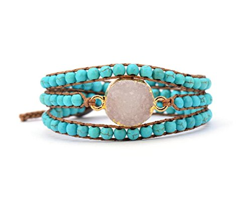 Druzy Wrap Bracelet Handmade with Synthetic-Turquoise Beads and White Quartz Stone