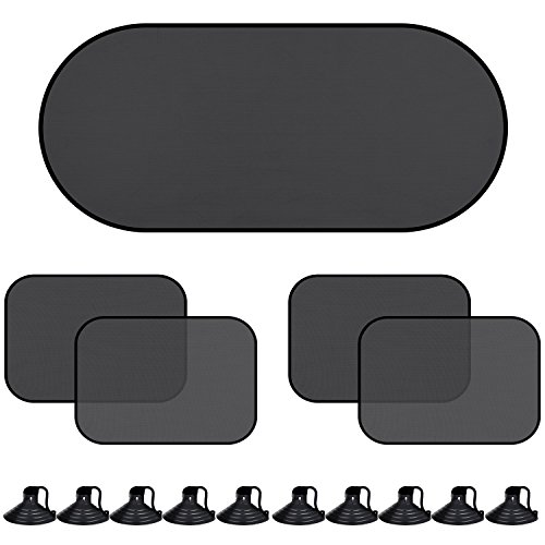 Hicarer 5 Pieces Car Window Shades Rear Side Window SUV Sunshades UV Rays Protector and 10 Pieces Suction Cups for Babies Families and (10 Piece Window Package)