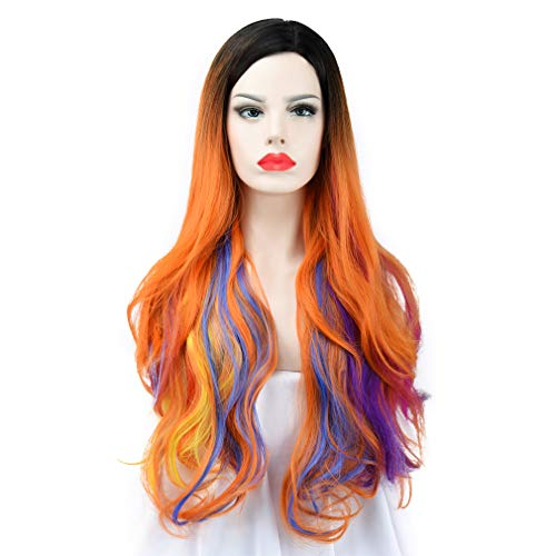 (SEIKEA 30'' Long Wavy Wig Cosplay Costume Part Side for Women Black Root Natural Hair Night Party Makeup - Orange with Colorful)