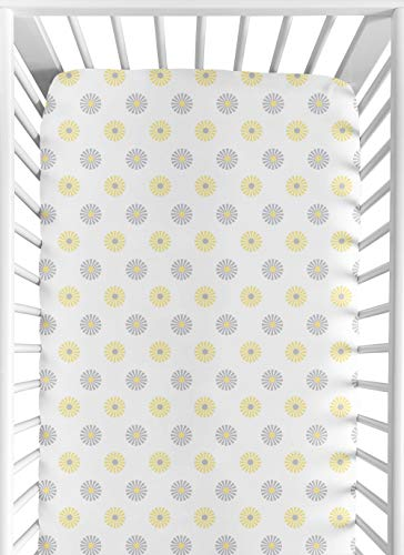 Sweet Jojo Designs Fitted Crib Sheet for Yellow, Gray and White Mod Garden Girl Baby/Toddler Bedding Set Collection - Mod Floral Print