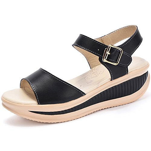 465090a3387d SHAKE Women s Platform Wedges Sandals Shape Ups Heeled Leather
