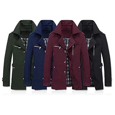 POHOK Men's Winter Jacket Overcoat Outwear Slim Long Trench Buttons Coat