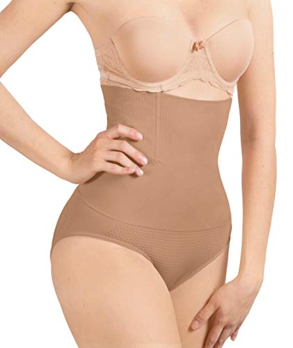 (SHAPERQUEEN 102C Best Womens Waist Cincher Body Shaper Trimmer Trainer Slimmer Thong Girdle Faja Bodysuit Short Diet Tummy Belly Control Brief Corset PlusSize Underwear panty Shapewear(XXL, Tan Light))