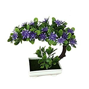 U-smile Artificial Plants, Simulation Moon-Shaped China Aster Plant Bonsai Decoration for Home Office Decor 73