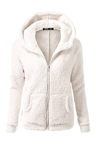 Casual cremallera con capucha Parkas de la mujer con bolsillos White